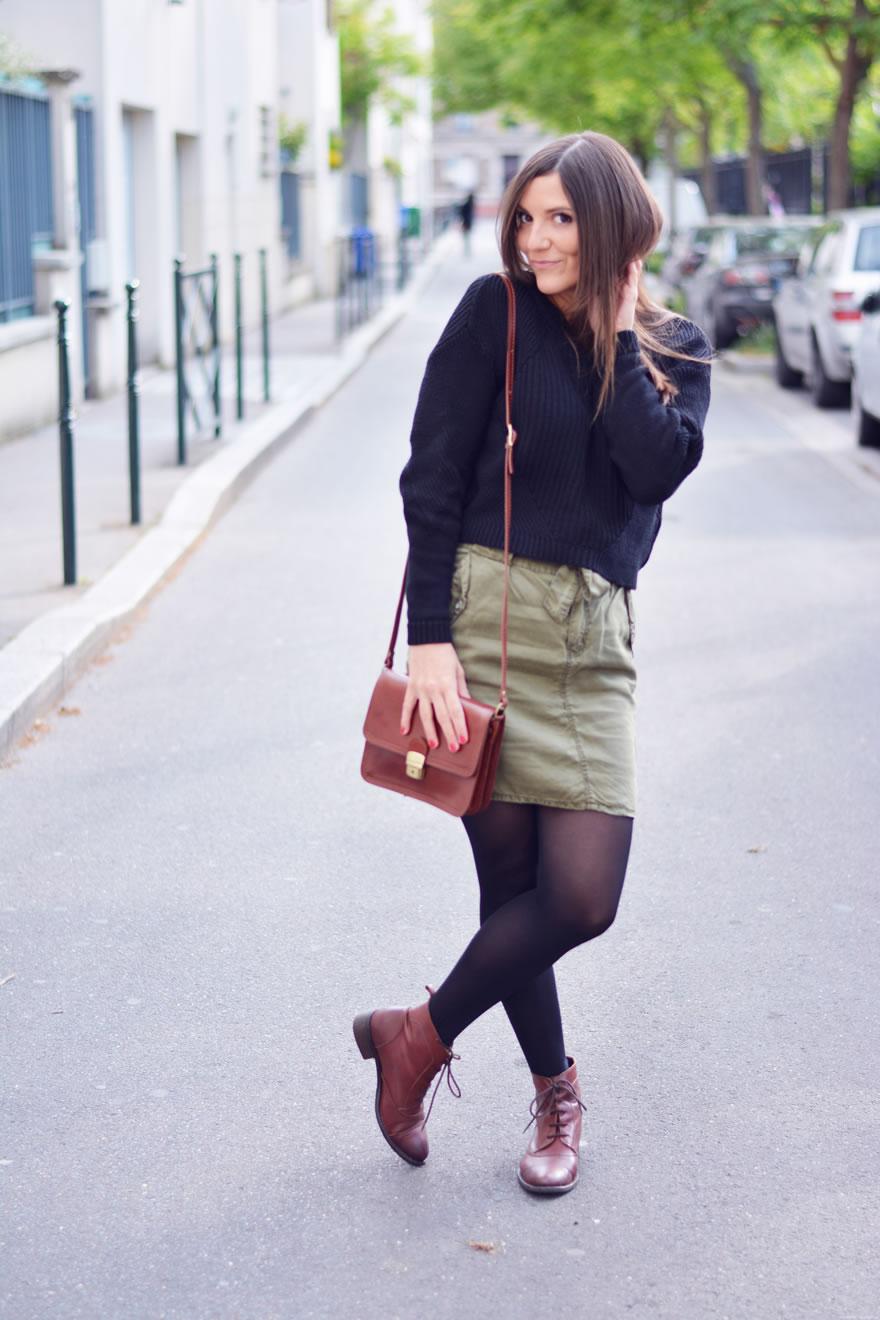 comment porter la jupe kaki