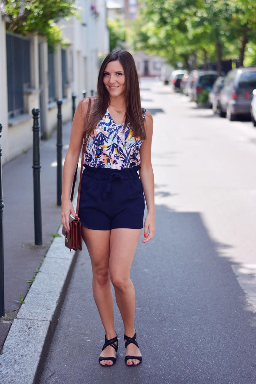 short taille haute bleu