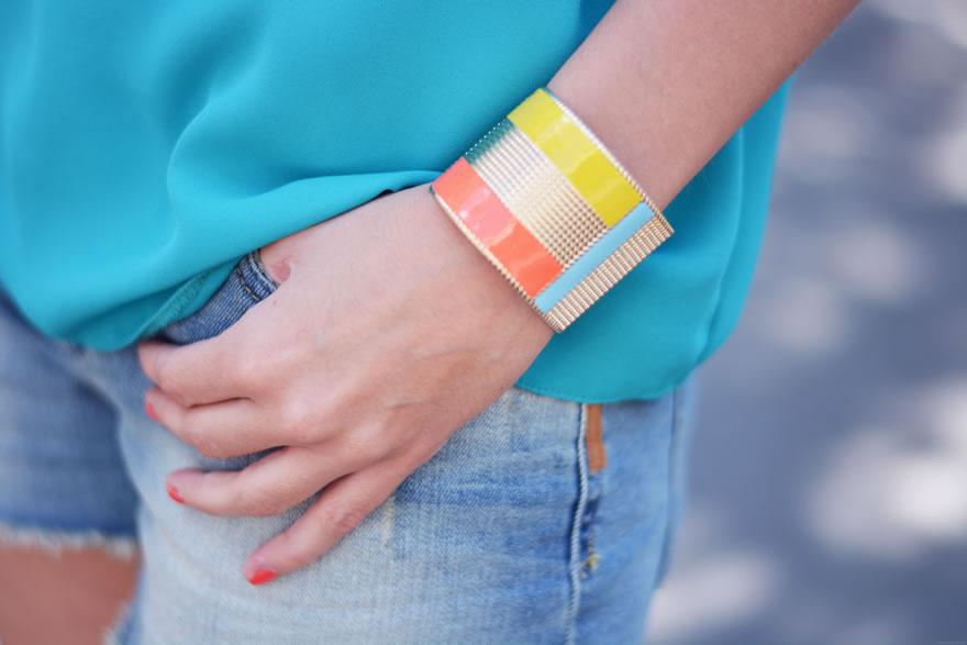 bracelet manchette or multicolore