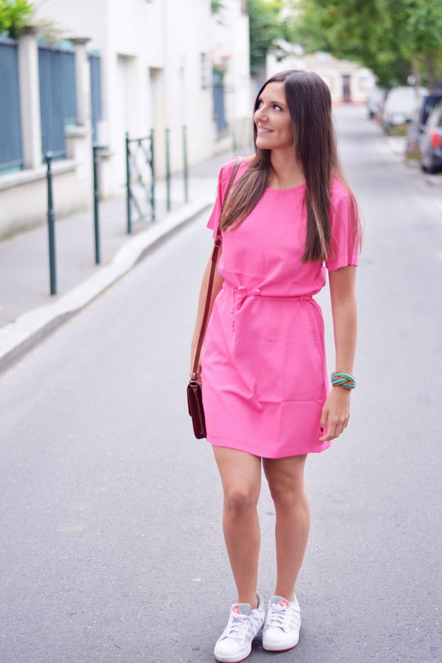robe rose fluo