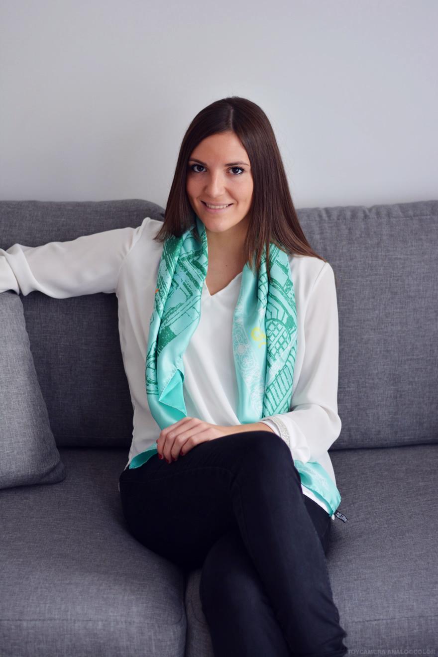 foulard en soie vert