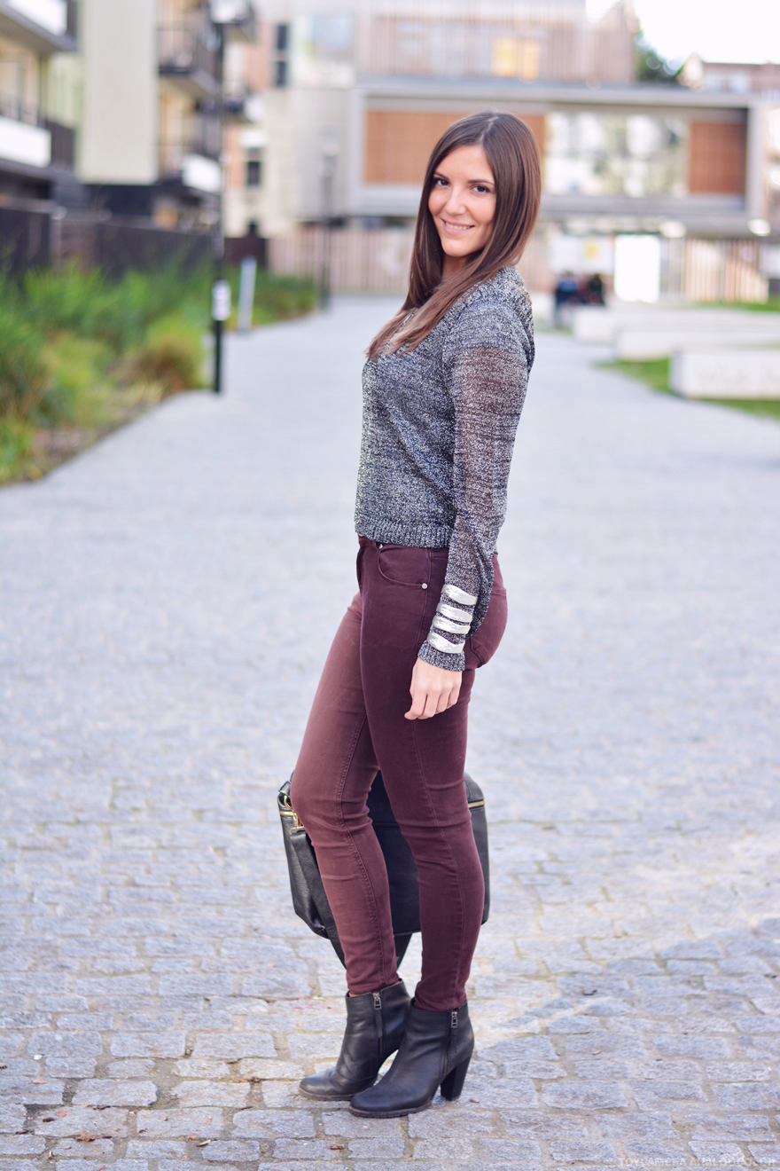 look pantalon bordeau