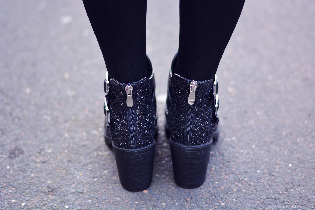 bottines noires paillettes