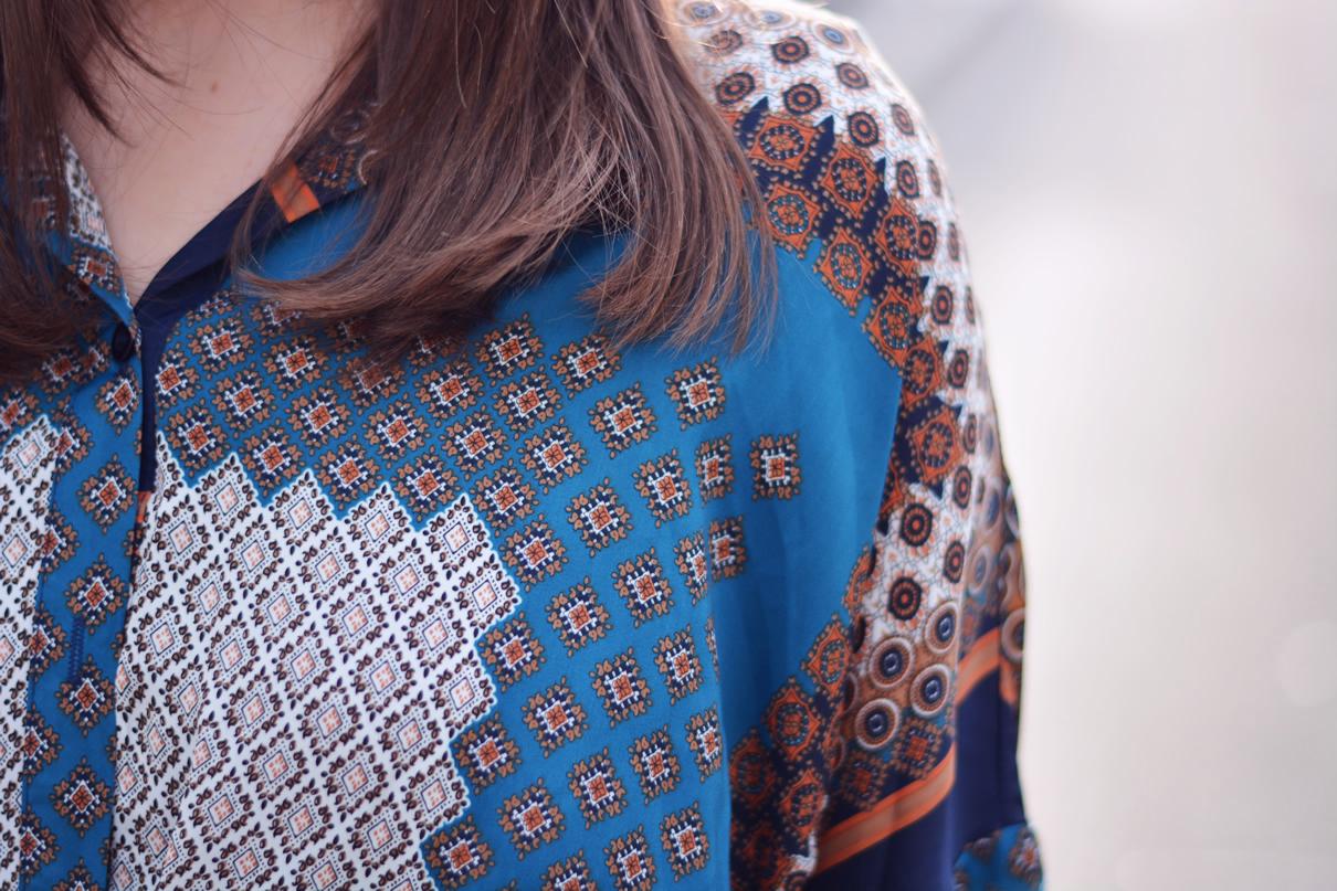 chemise graphique en soie