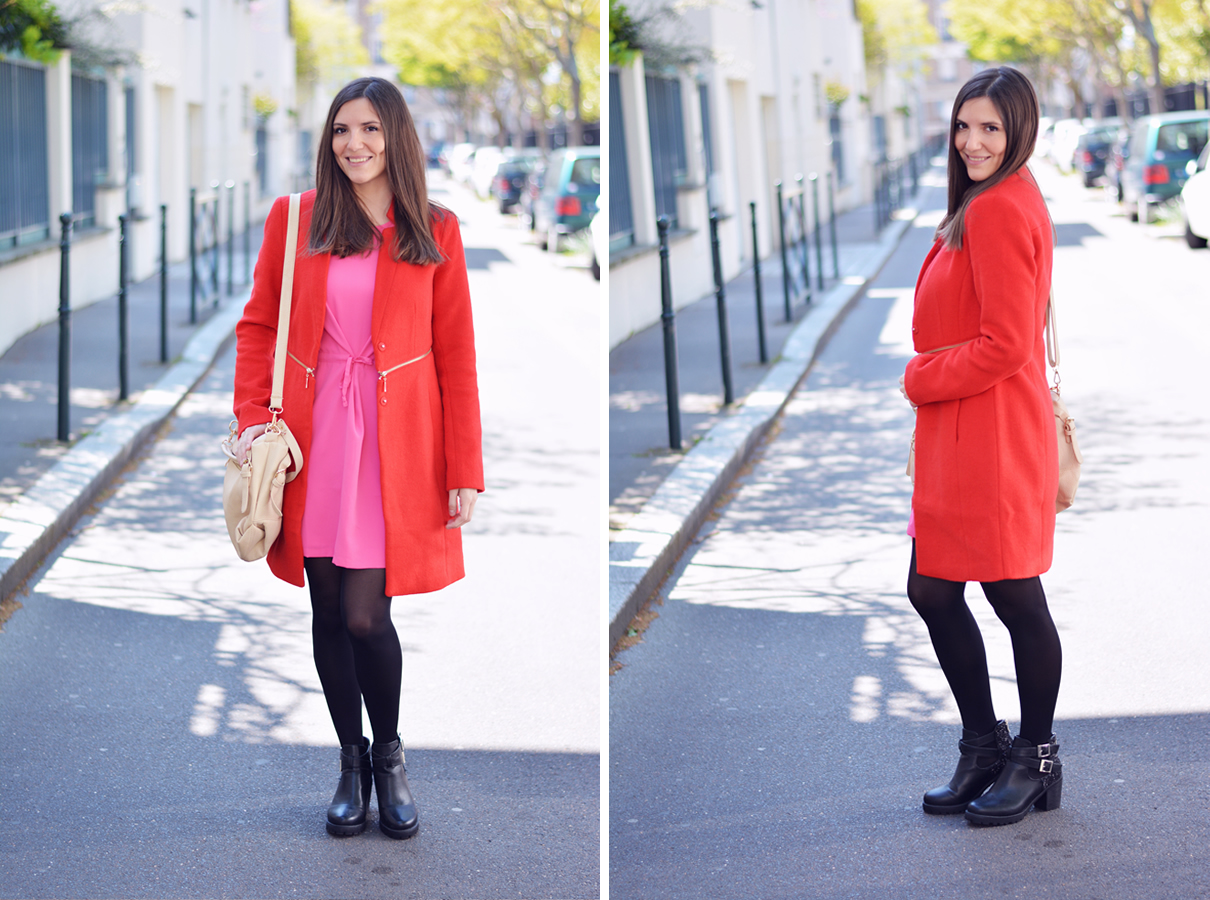 manteau rouge et robe rose