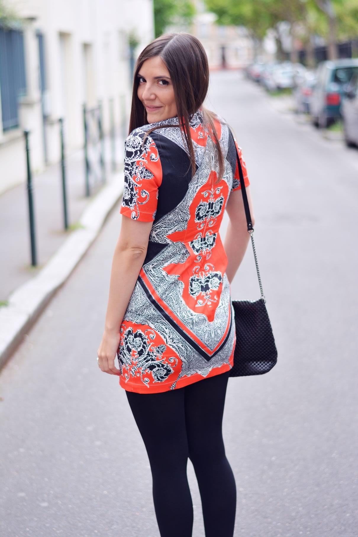 robe imprimés baroques orange