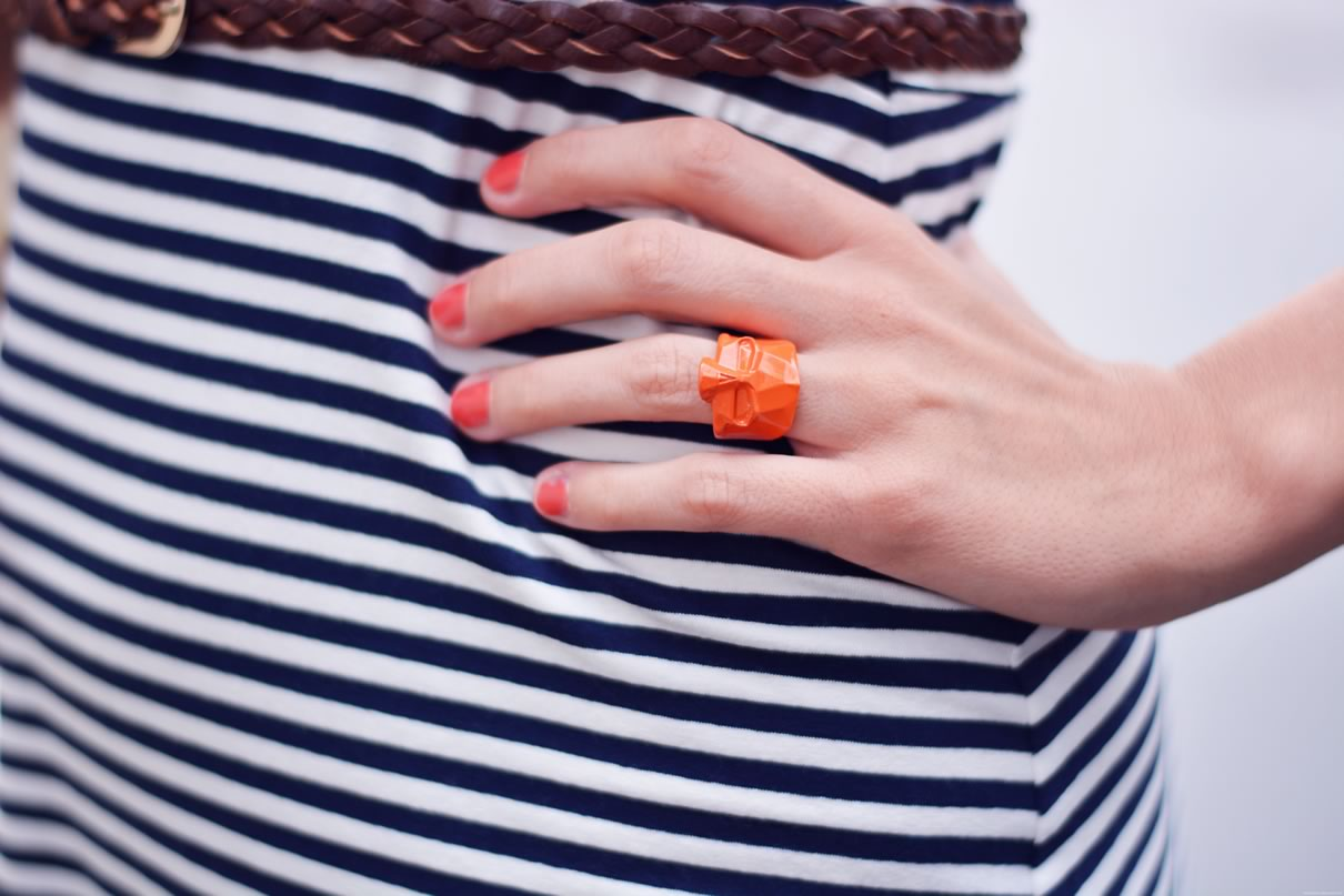 bague tete de mort orange