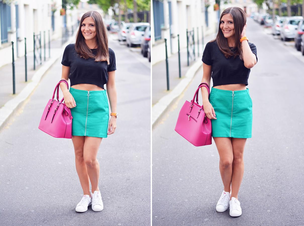 comment porter la jupe verte a fermeture