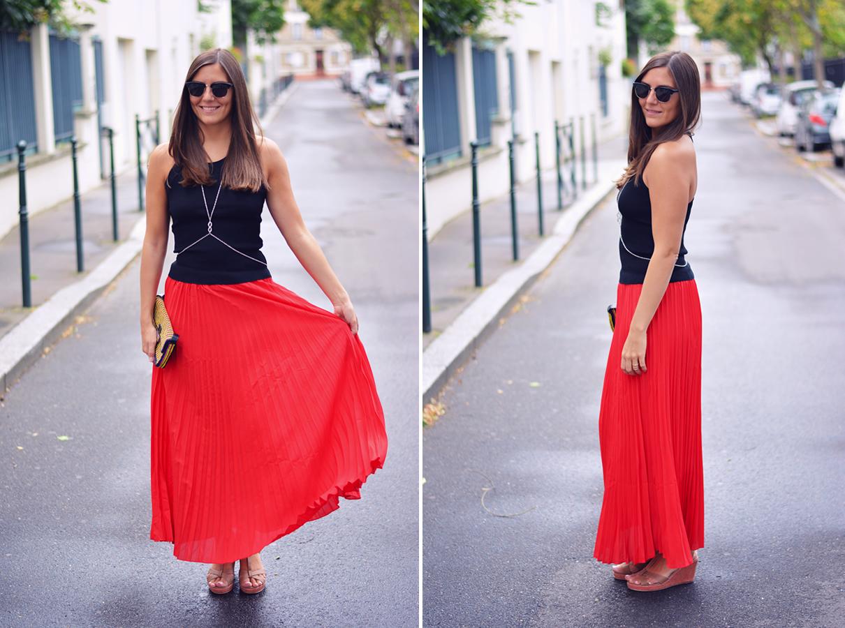 look tendance jupe plissee