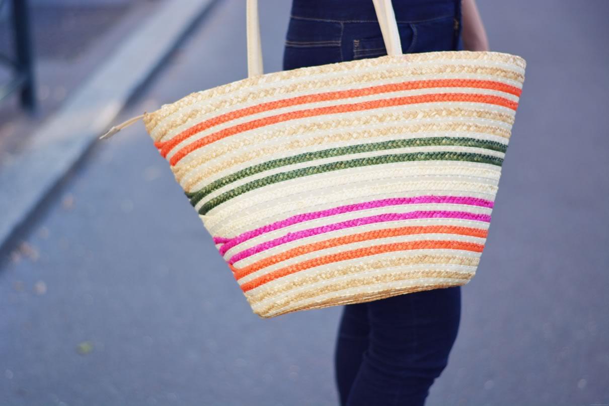 sac en paille colore