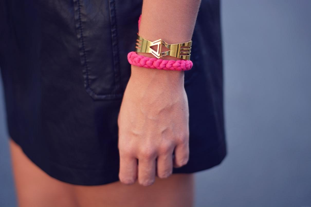 bracelet tresse rose