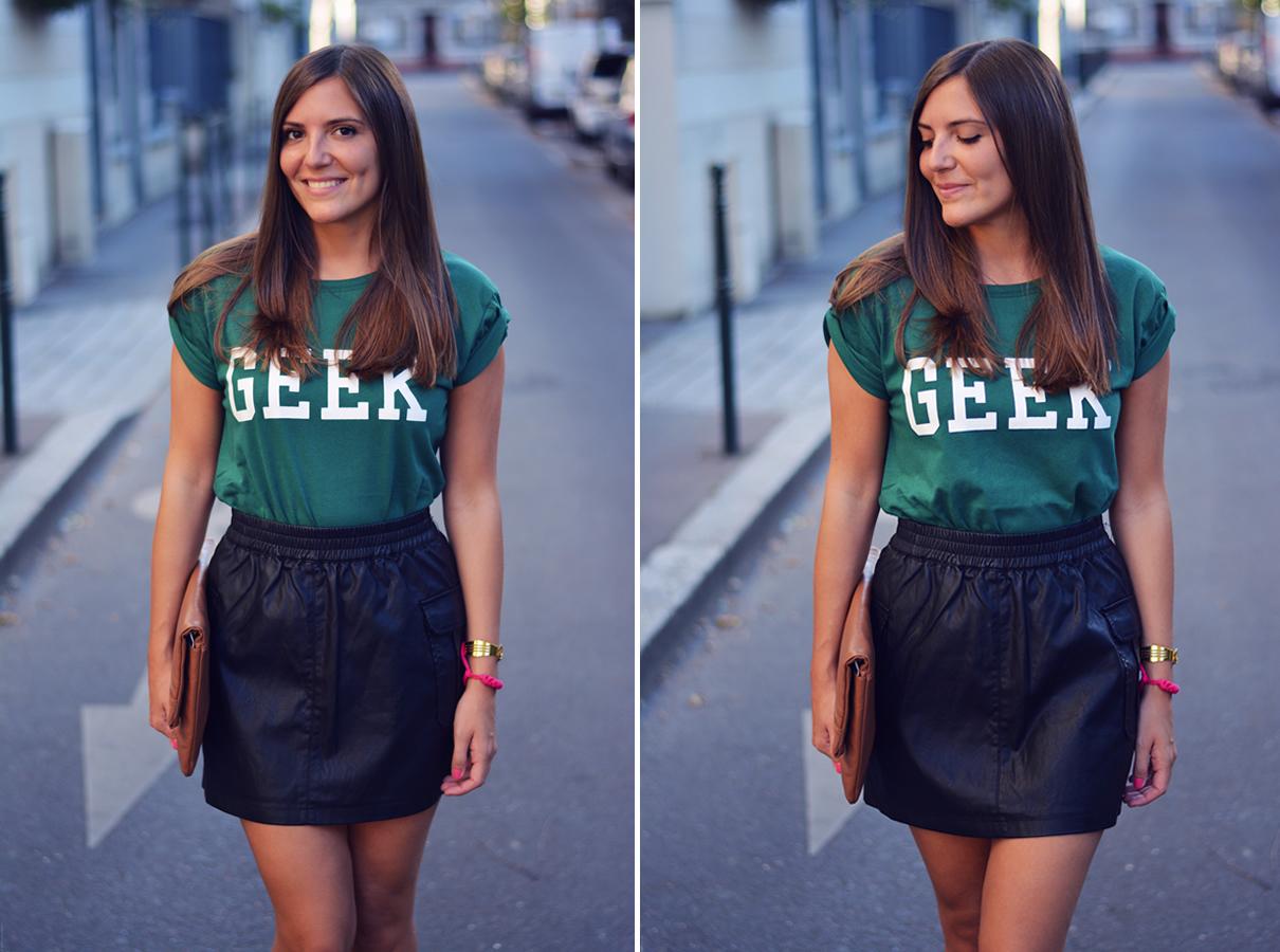 look tshirt geek et jupe en cuir