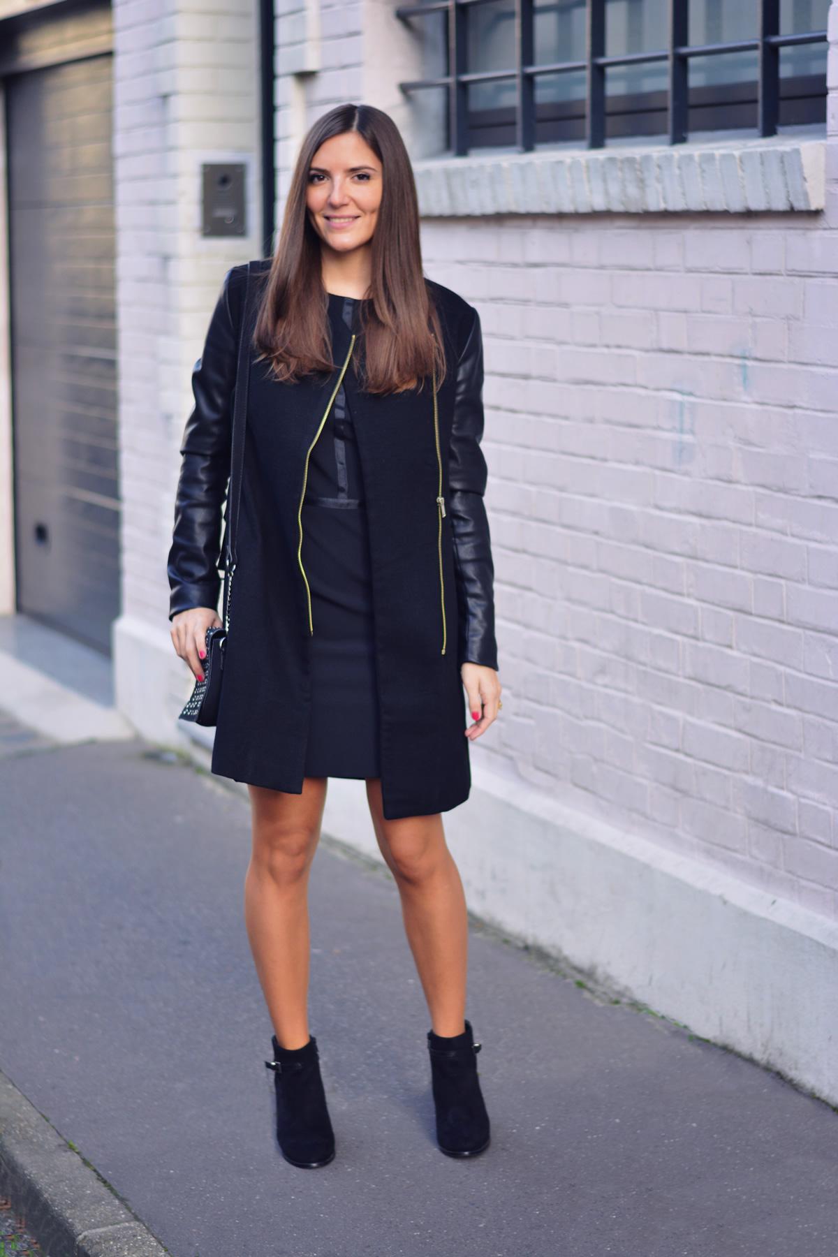 look manteau cuir noir