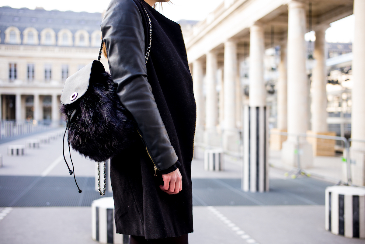 sac fourrure noir