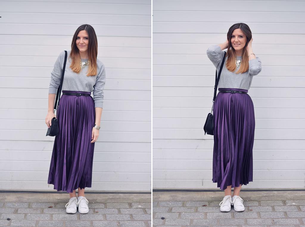 comment porter la jupe violette