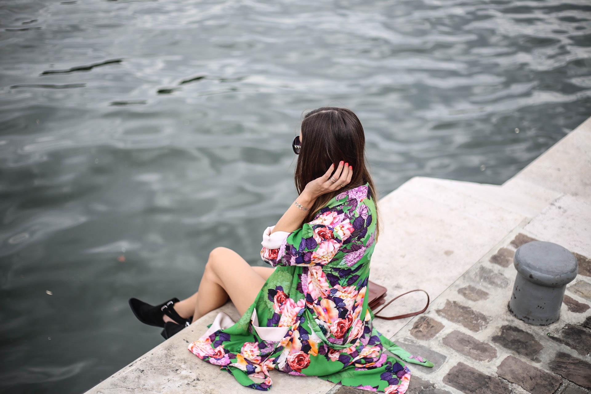 kimono fleuris vert les caprices diris